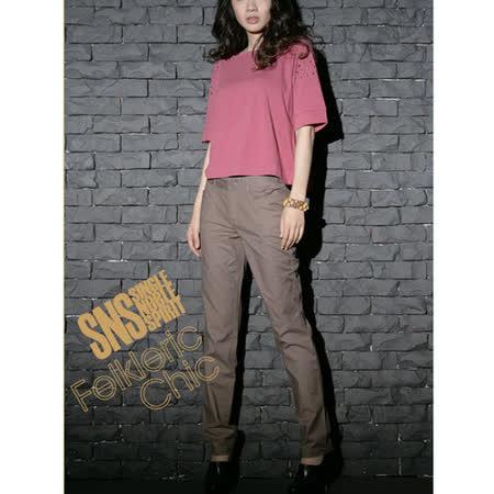 SNS 壞壞惹人愛 鉚釘五分袖T恤(共三色)-褐紫紅
