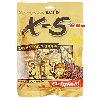 X-5 迷你花生巧克力捲心酥量販包160g