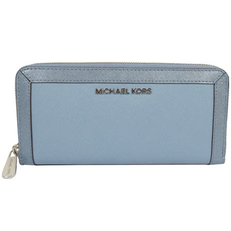 MICHAEL KORS 經典LOGO防刮皮革飾邊拉鍊長夾.粉藍