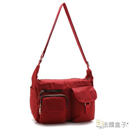 【法國盒子】慢活時尚率性多口袋二用包(紅色)907