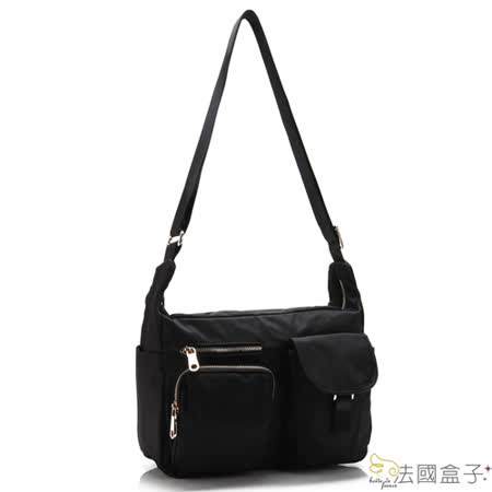 【法國盒子】慢活時尚率性多口袋二用包(黑色)907