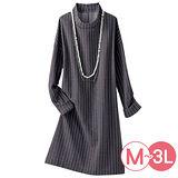 日本Portcros 預購-小高領條紋提花洋裝(共兩色/M-3L)