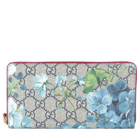 【勸敗】gohappyGUCCI GG Blooms Supreme PVC 印花ㄇ型拉鍊長夾(粉藍)開箱愛 買 薪水