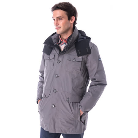 【hilltop山頂鳥】男款GoreTex兩件式防水羽絨長大衣F21M51灰