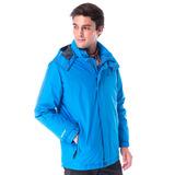 【hilltop山頂鳥】男款GoreTex兩件式防水羽絨拆袖短大衣F22MT2藍