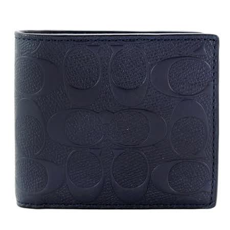 COACH C LOGO壓紋男用短夾(附證件夾)(深藍)