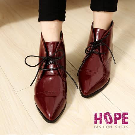 【勸敗】gohappy線上購物【HOPE】亮面漆皮繫帶德比短靴-紅【K167B3030】哪裡買公道 五 愛 買