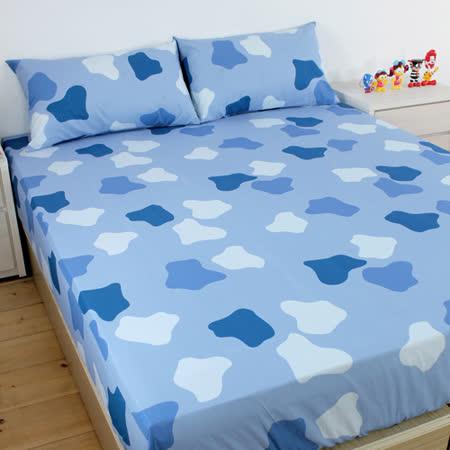 [床邊故事] 100%純棉床包枕套三件組_可愛迷彩_雙人5尺 / 3色可選