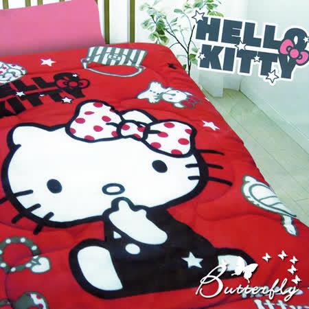 【Hello kitty】凱蒂貓 法蘭絨暖暖被 時尚寶盒-紅