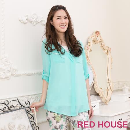RED HOUSE-蕾赫斯- 水鑽雪紡襯衫(綠色)