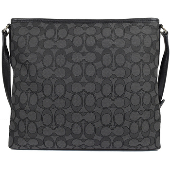COACH 馬車金屬LOGO織布皮飾邊斜背包.黑灰