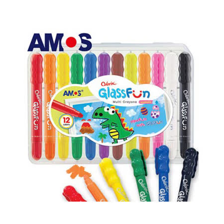 【BabyTiger虎兒寶】韓國AMOS 多功能玻璃蠟筆 - 12 色