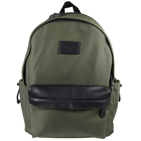 COACH 經典LOGO尼龍皮飾邊束口雙口袋後背包.墨綠