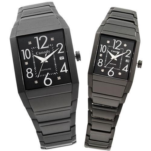 Canody 專屬情人晶鑽對錶(IP黑) CMB5623-A+CLB5623-A