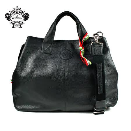 【Orobianco】RICCIO-A 04皮革壓紋手提包 黑色(O1378-A)