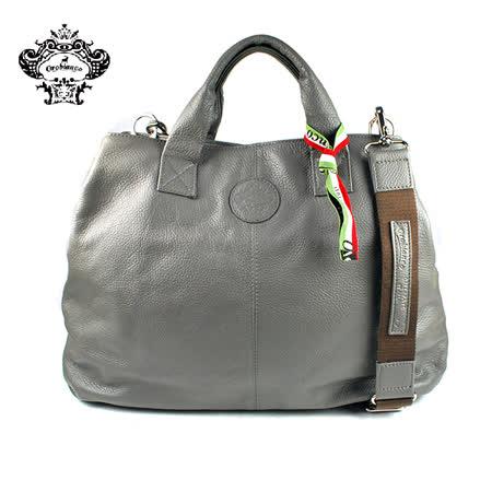 【Orobianco】RICCIO-A 04皮革壓紋手提包 灰色(O1378-D)