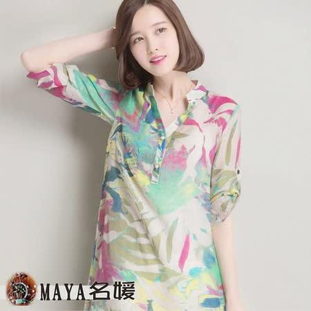 【Maya 名媛】(m~3xl)薄棉麻料 大v領 二用袖 長版 抽象油畫風格襯衫-3色