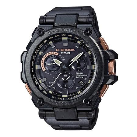 【CASIO 卡西歐】MT-G系列 暗黑力量太陽能GPS 全金屬電波計時錶(54.7mm/ MTG-G1000RB-1A)
