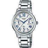 【CASIO 卡西歐】SHEEN 藍色北極星不鏽鋼女用腕錶(30.5mm/ SHE-3049D-7A)