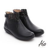 A.S.O 舒適樂活 全真皮釦飾鏤空拉鍊短靴