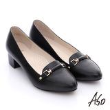 A.S.O 優雅美型 壓紋真皮飾釦樂福中跟鞋