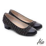 A.S.O 3E舒活寬楦 針織牛皮奈米低跟鞋