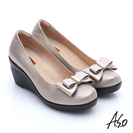 A.S.O 美型氣墊 真皮奈米雙蝴蝶結飾氣墊楔型鞋(卡其)