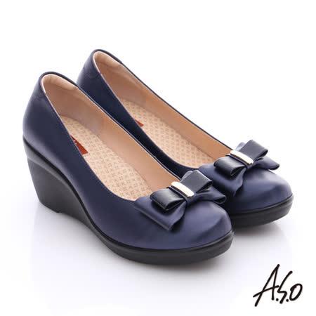 A.S.O 美型氣墊 真皮奈米雙蝴蝶結飾氣墊楔型鞋(藍)