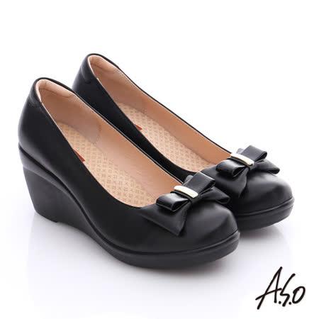 A.S.O 美型氣墊 真皮奈米雙蝴蝶結飾氣墊楔型鞋(黑)