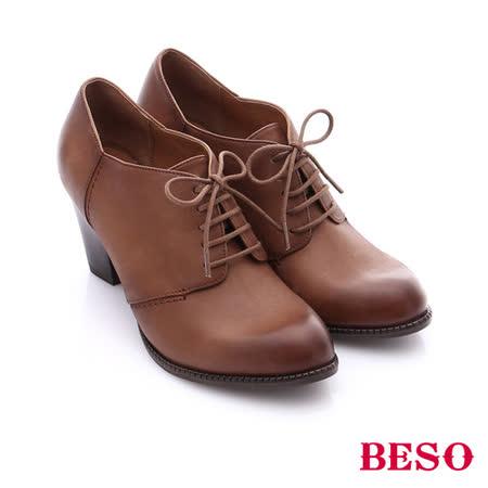 BESO 簡約知性 雙色牛皮粗高跟踝靴(卡其)