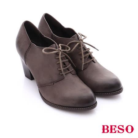 BESO 簡約知性 雙色牛皮粗高跟踝靴(灰)