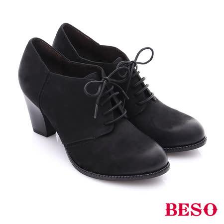 BESO 簡約知性 雙色牛皮粗高跟踝靴(黑)