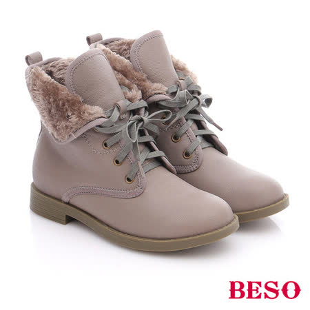 BESO 潮人街頭風  羊皮綁帶舖毛短筒軍靴(灰)
