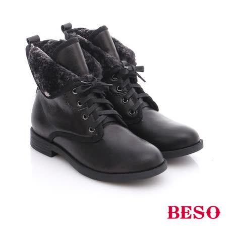 BESO 潮人街頭風  羊皮綁帶舖毛短筒軍靴(黑)