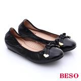 BESO 簡約知性 柔軟羊皮蝴蝶結內增高娃娃鞋(黑)