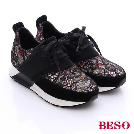 BESO 潮人街頭風 蕾絲花紋拼接綁帶休閒鞋(黑)