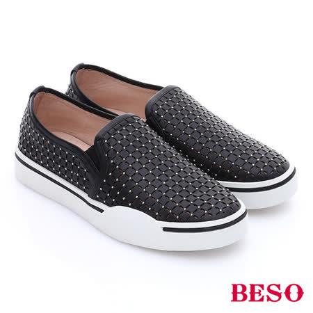 BESO 簡約知性 真皮水鑽格紋刻花厚底休閒鞋(黑)