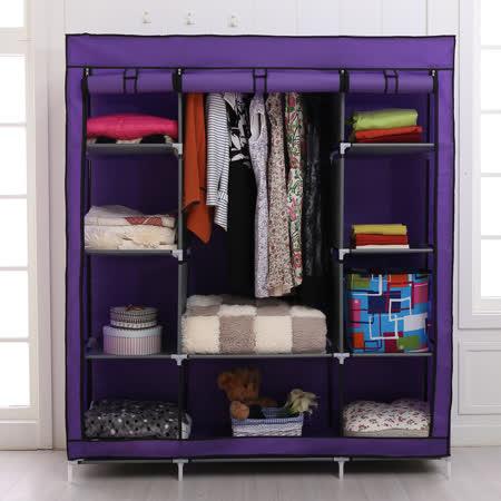 【旺寶】145cm特大款三排式簡易DIY防塵組合衣櫃(多色可選)