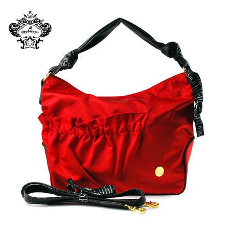 【HAKKIN】HELIE HK1-01大容量時尚褶皺女包 紅色(O7029-B)