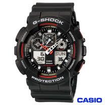 CASIO卡西歐 G-SHOCK多層次3D立體錶盤雙顯錶 GA-100-1A4