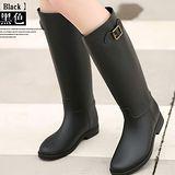 【Moscova】超實搭英倫時尚單扣霧面一體成型雨靴-黑色