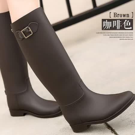 【Moscova】超實搭英倫時尚單扣霧面一體成型雨靴-咖啡色