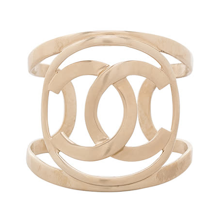 CHANEL香奈兒經典CC Logo立體寬版手環(金色)