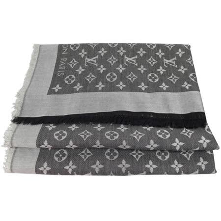 Louis Vuitton LV M71378 Monogram Denim 經典花紋羊毛絲綢披肩圍巾.黑 現貨