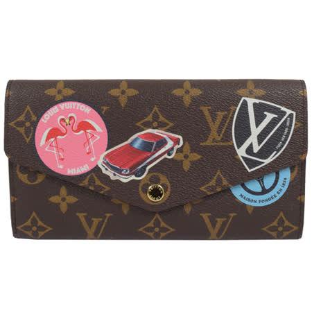 【私心大推】gohappy快樂購物網Louis Vuitton LV M62147 Sarah 限量圖案熱銷款經典花紋扣式長夾 現貨價錢廣三