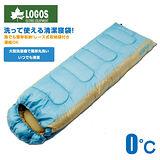 【日本 LOGOS】0℃ 零度加長加大抗菌防臭丸洗透氣保暖寢具睡袋(中空纖維填充/可機洗)適登山露營旅遊野餐_藍 72600890
