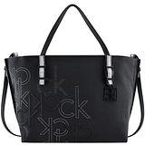 Calvin Klein 皮革壓紋托特包-黑色