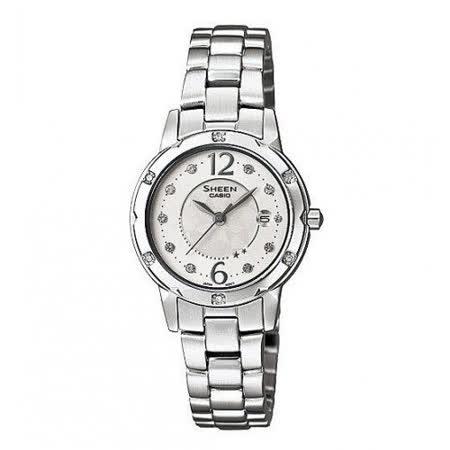 CASIO卡西歐 SHEEN系列圓盤鑲鑽簡約石英女錶 SHE-4021D-7A