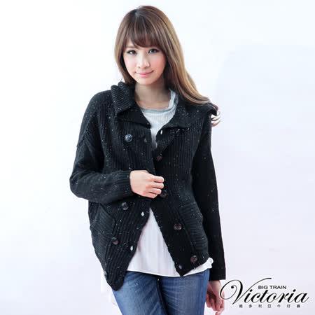 Victoria 雙排扣翻領厚針織外套-黑