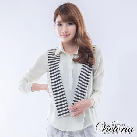 Victoria 條紋披肩雪紡襯衫-米白
